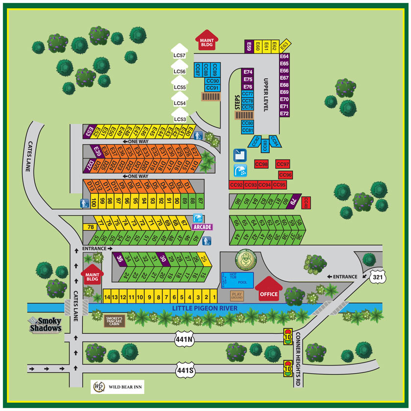 Pigeon Forge, TN RV Park campground map