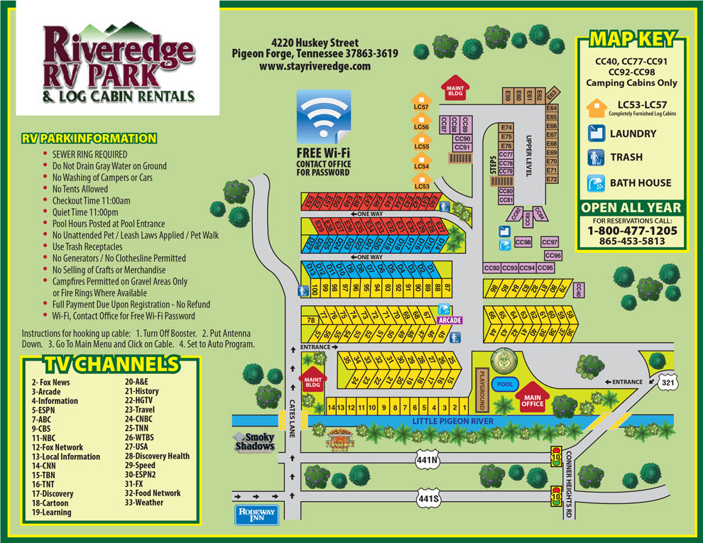 Riveredge RV Park Map
