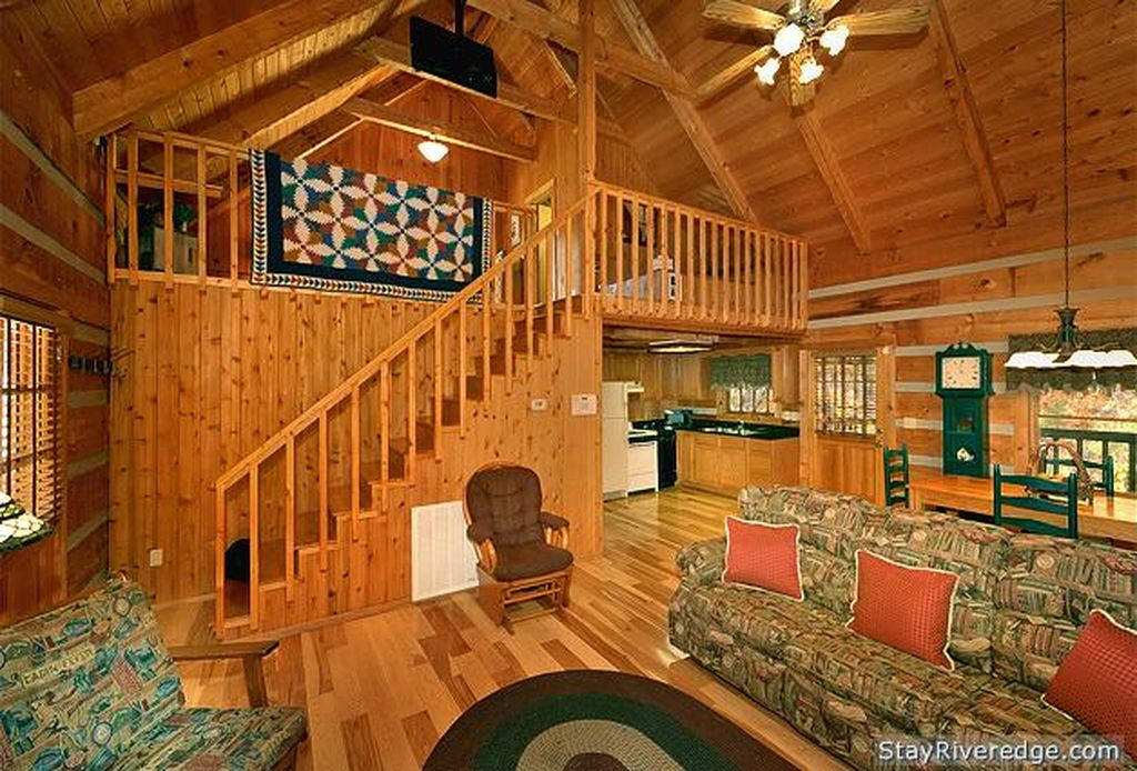 Living room and upstairs view of Woodland Wonder