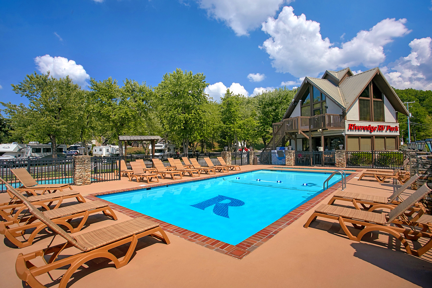 Pool view of RV Park in Pigeon Forge